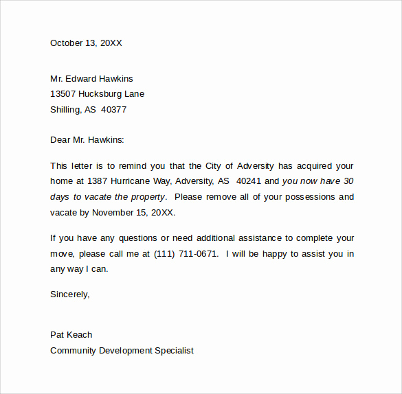 Notice to Vacate Apartment Lovely 8 Sample 30 Day Notice Letter Templates Download for Free