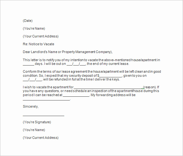 Notice to Vacate Apartment New 20 Notice to Vacate Templates Pdf Google Docs Ms Word