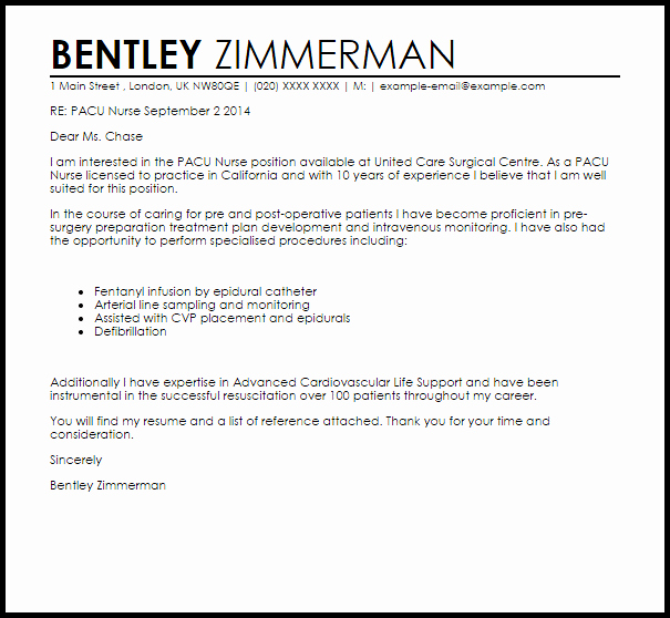 Nurse Cover Letters Examples Beautiful Pacu Nurse Cover Letter Sample