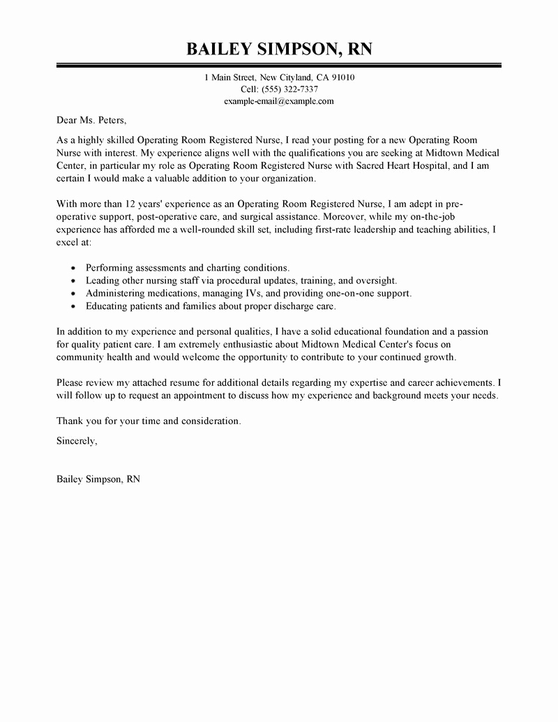 Nurse Cover Letters Examples Lovely Best Operating Room Registered Nurse Cover Letter Examples