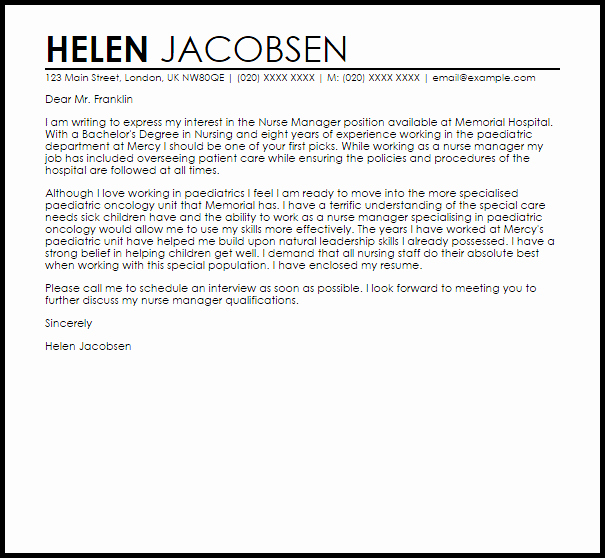 Nurse Cover Letters Examples Lovely Nurse Manager Cover Letter Sample