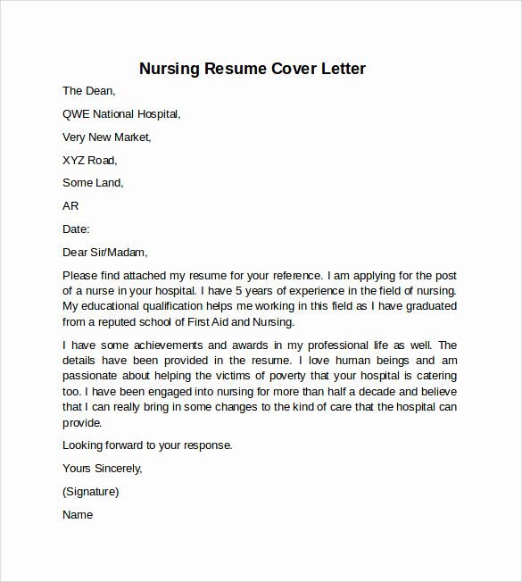 Nurse Cover Letters Examples New 10 Sample Nursing Cover Letter Examples to Download