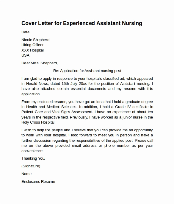 Nurse Cover Letters Examples Unique 10 Sample Nursing Cover Letter Examples to Download