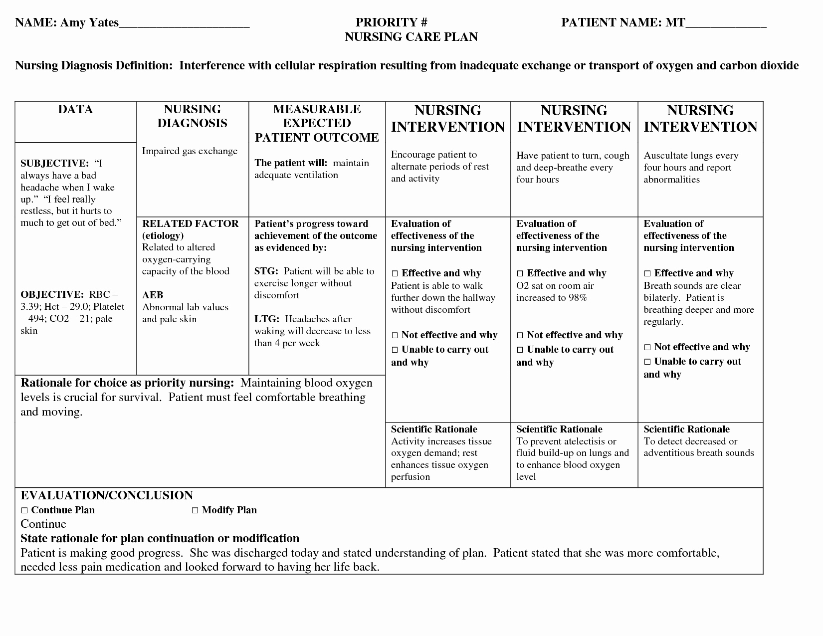 Nursing Care Plans Template Awesome Nursing Patient Care Plan Example … Care Plans