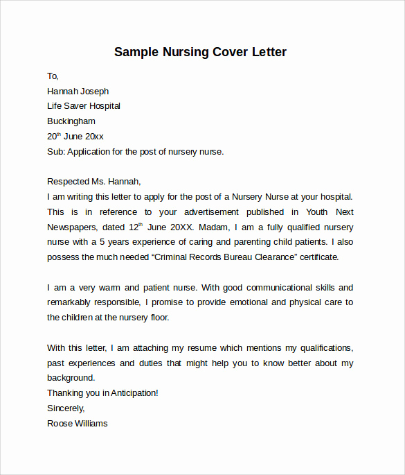 Nursing Cover Letters Sample Luxury 10 Nursing Cover Letter Template – Samples Examples
