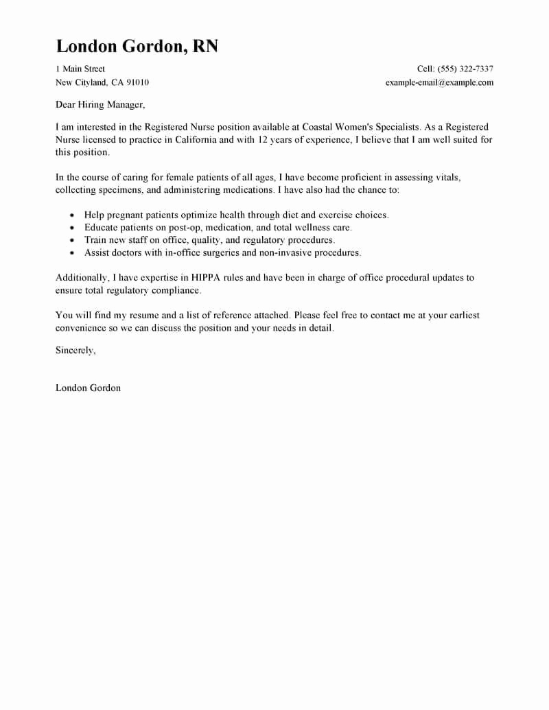 Nursing Cover Letters Sample Luxury Best Registered Nurse Cover Letter Examples