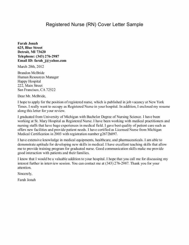 Nursing Resume Cover Letter Awesome New Grad Nurse Cover Letter Example
