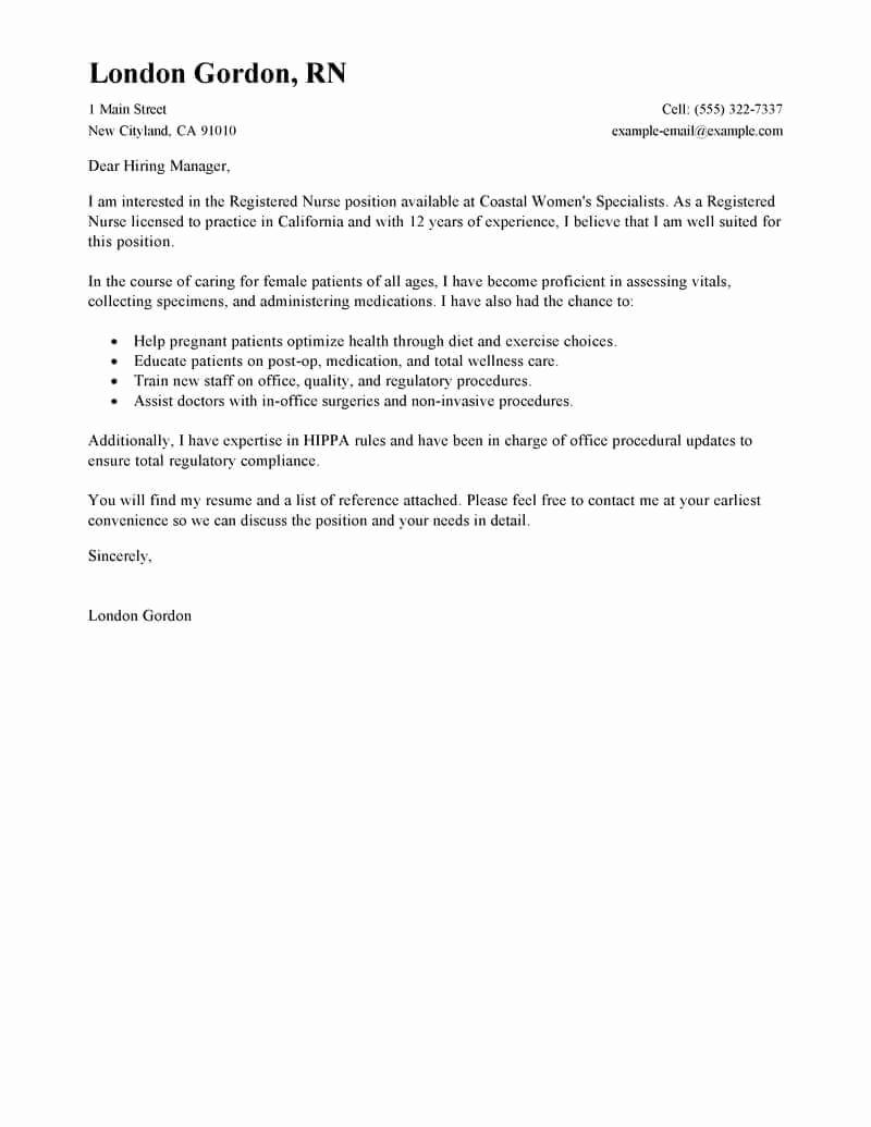Nursing Resume Cover Letter Lovely Best Registered Nurse Cover Letter Examples