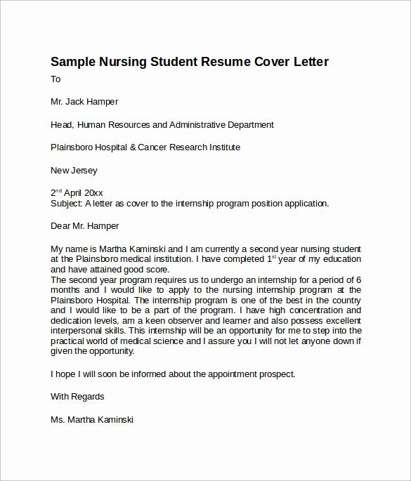 Nursing Resume Cover Letter Unique Sample Nursing Cover Letter Template 8 Download Free