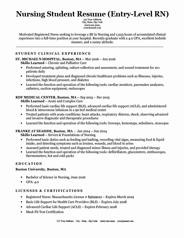 Nursing Student Resume Examples Awesome Entry Level Nursing Student Resume Sample & Tips