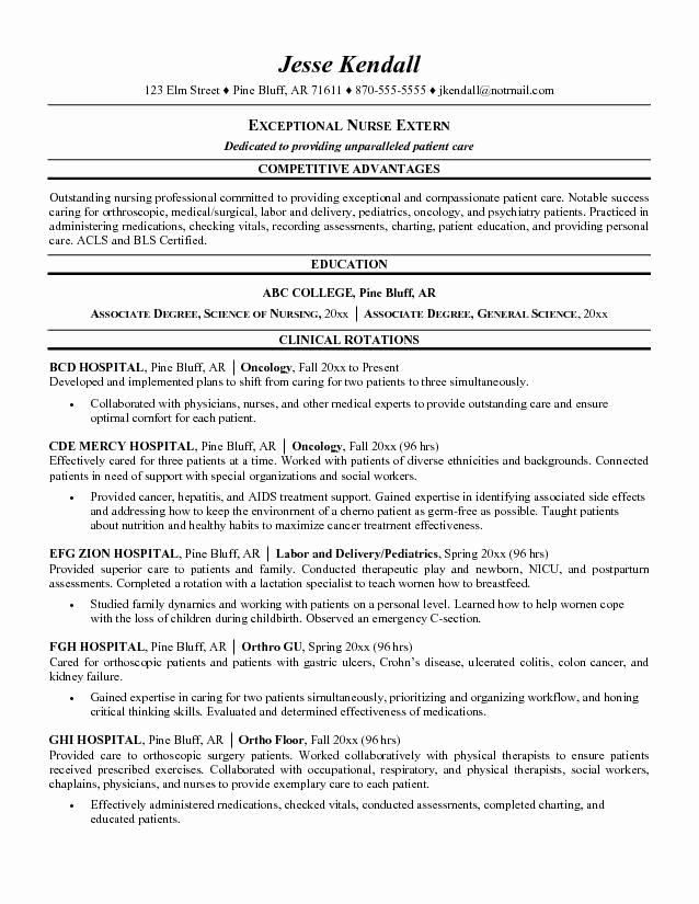 Nursing Student Resume Examples Best Of Nursing Student Resume Examples