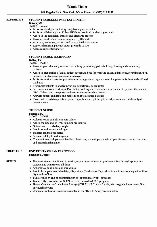 Nursing Student Resume Examples Best Of Student Nurse Resume Samples