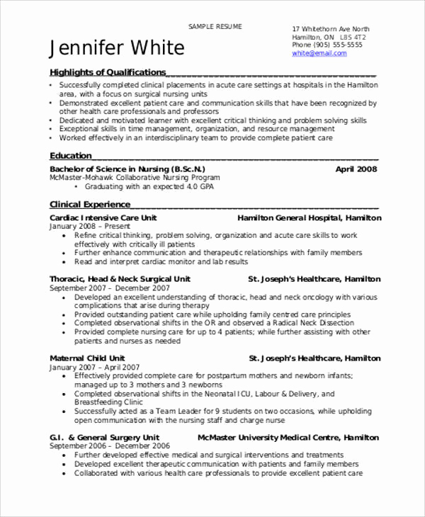 Nursing Student Resume Examples Fresh 8 Sample Student Nurse Resumes