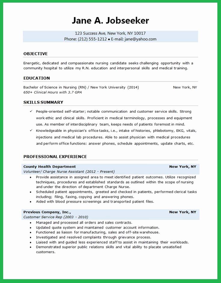 Nursing Student Resume Examples Fresh Nursing Student Resume