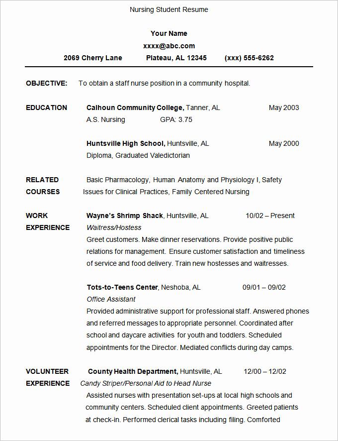 Nursing Student Resume Examples Lovely 36 Student Resume Templates Pdf Doc