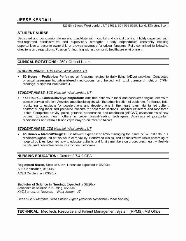 Nursing Student Resume Examples Unique Example Student Nurse Resume Free Sample
