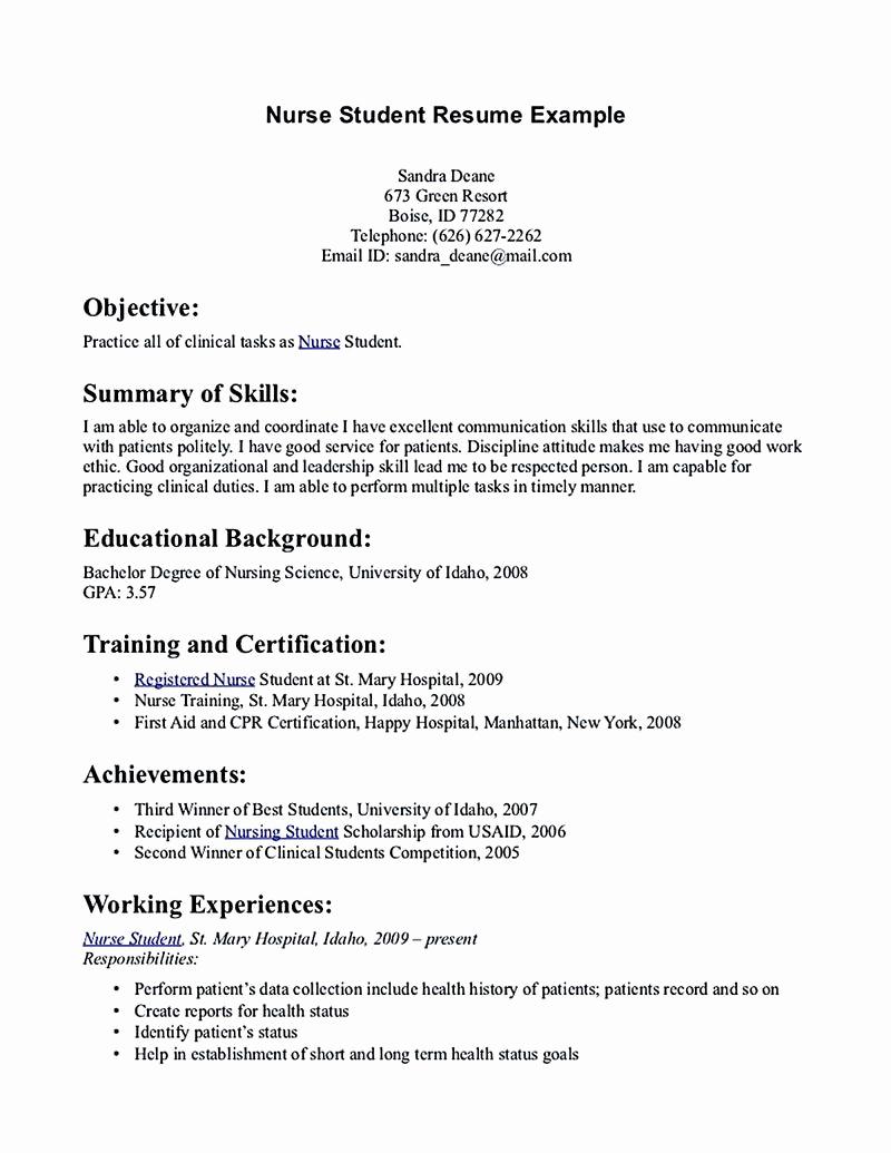 Nursing Student Resume Examples Unique Nursing Student Resume Must Contains Relevant Skills