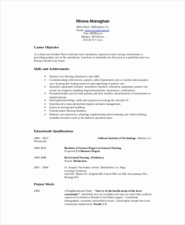 Nursing Student Resume Template Awesome 8 Sample Nursing Student Resumes