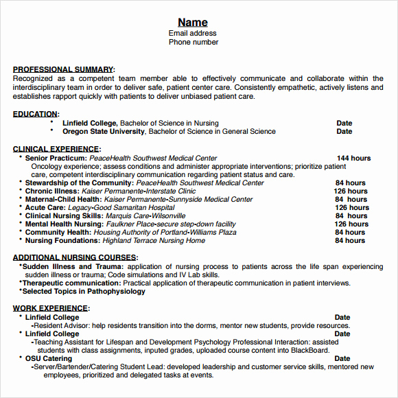 Nursing Student Resume Template Beautiful 9 Nursing Resume Templates – Free Samples Examples