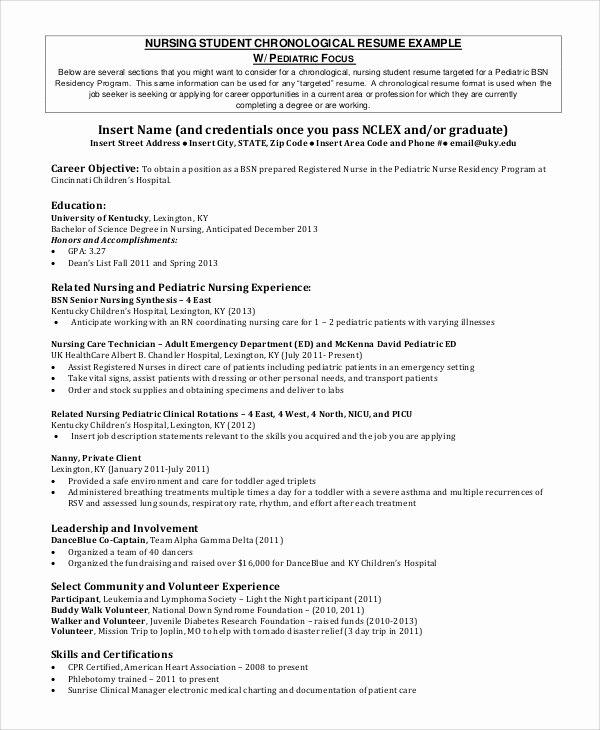 Nursing Student Resume Template Inspirational 8 Sample Nursing Student Resumes