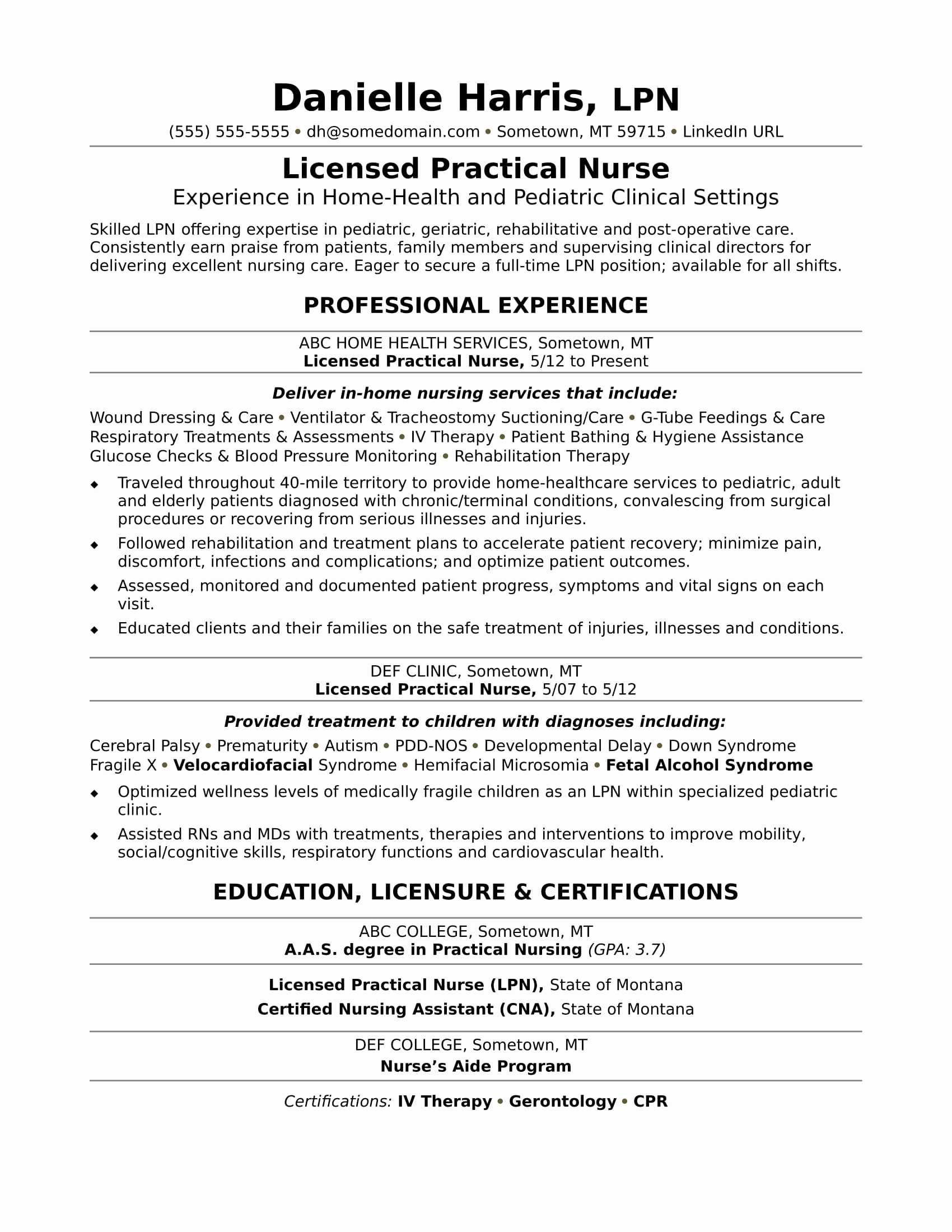 sample resume licensed practical nurse