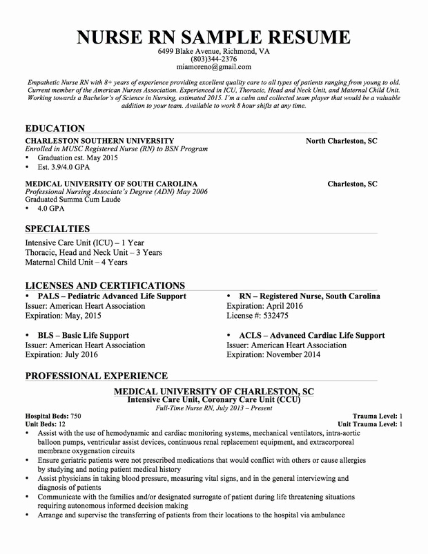 Nursing Student Resume Template New Experienced Nursing Resume … Nursing