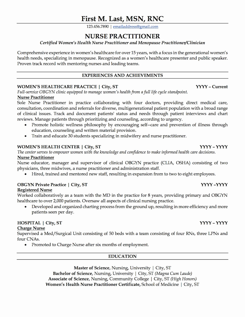 Nursing Student Resume Template New Nurse Practitioner Resume Sample