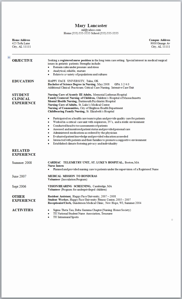 Nursing Student Resume Template New Sample Nursing Resume New Graduate Nurse