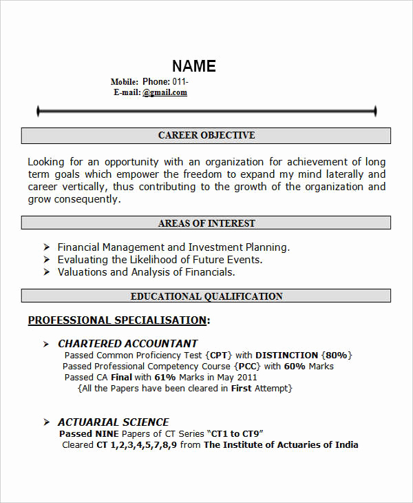 Objective for Resume for Freshers Beautiful 28 Free Fresher Resume Templates