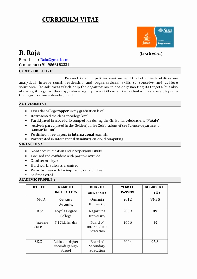 Objective for Resume for Freshers Elegant Fresher Resume