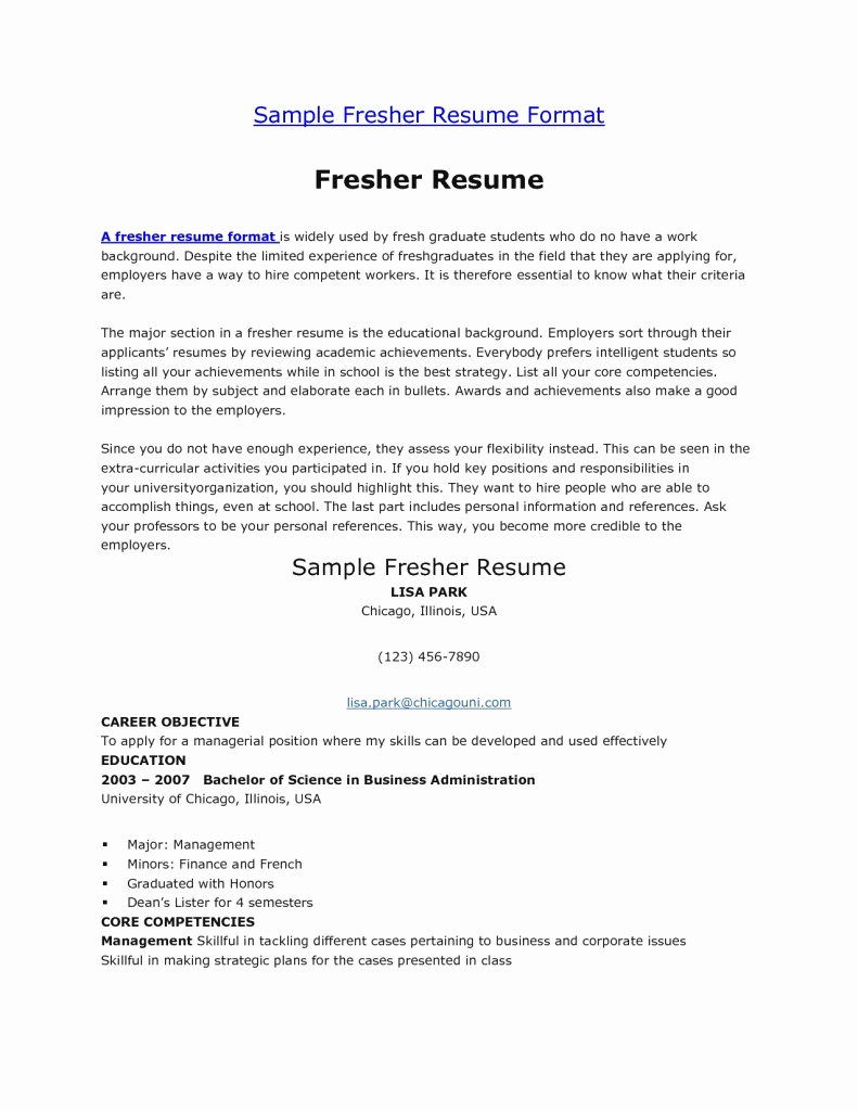 Objective for Resume for Freshers Fresh Resume for Fresher Management Student – Perfect Resume format