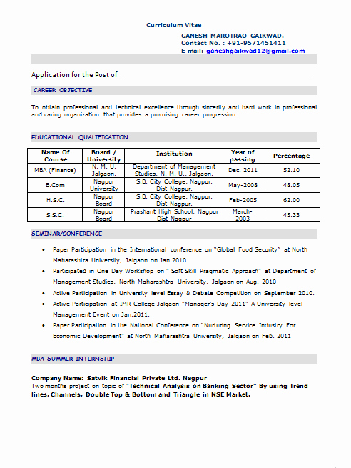 Objective for Resume for Freshers Lovely Mba Fresher Resume