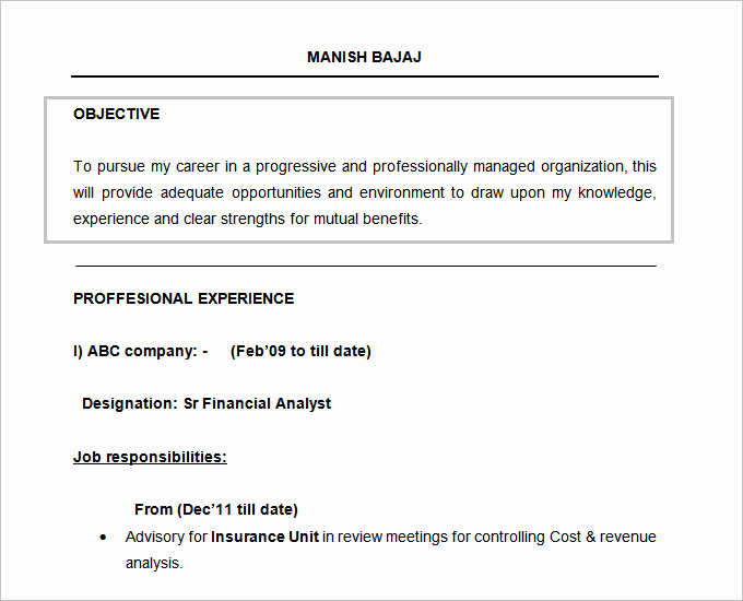 Objective for Resume for Freshers Luxury 61 Resume Objectives Pdf Doc