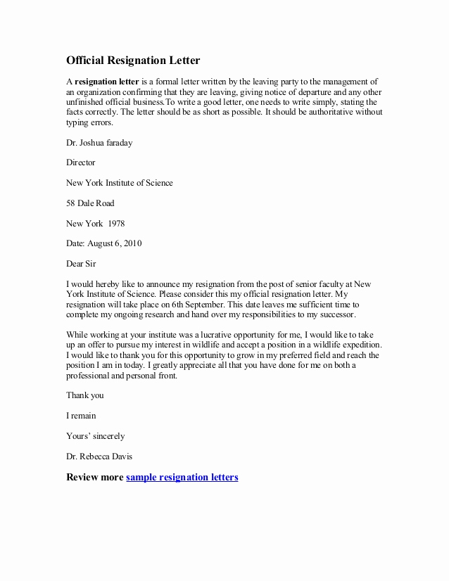 Official Letter Of Resignation Awesome Ficial Resignation Letter