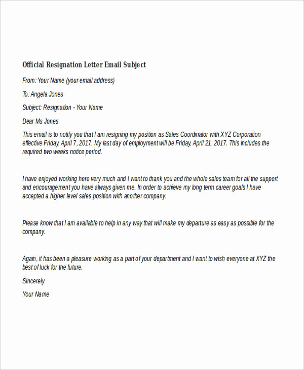 Official Letter Of Resignation Luxury 40 Resignation Letter Example