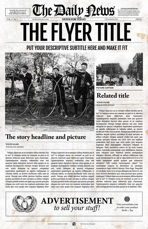 Old Newspaper Template Word Beautiful Front Page Newspaper Template Flyer Templates Creative