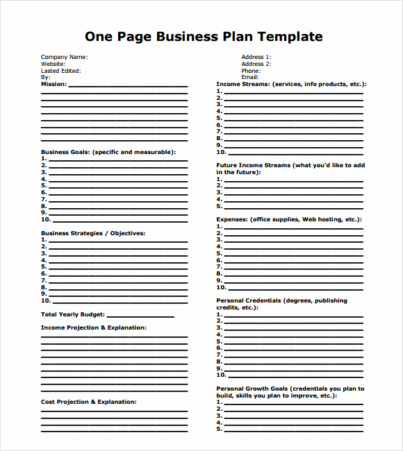One Page Business Plan Pdf Awesome E Page Business Plan Sample 10 Documents In Pdf Word