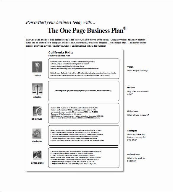 One Page Business Plan Pdf Lovely E Page Business Plan Pdf