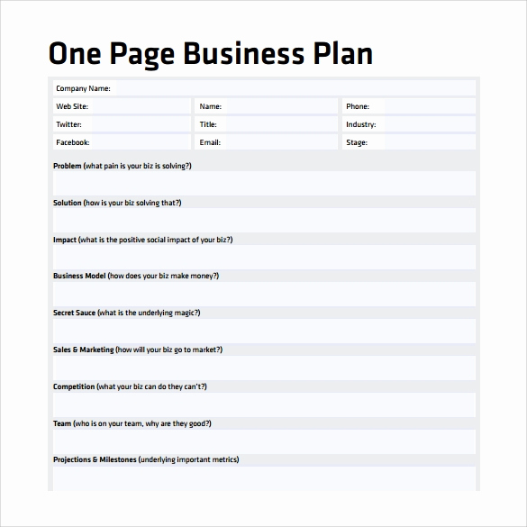 One Page Business Plan Pdf Lovely E Page Business Plan Sample 10 Documents In Pdf Word