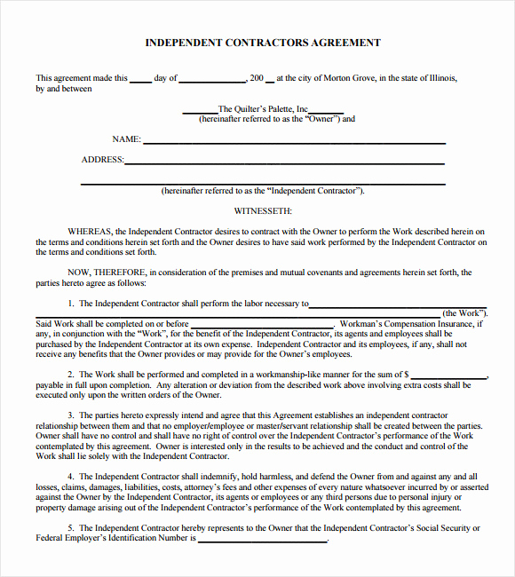 One Page Independent Contractor Agreement Awesome Blank Independent Contractor Agreement