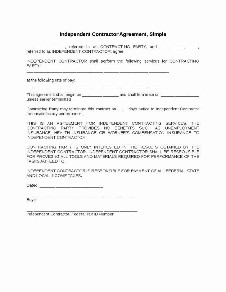 One Page Independent Contractor Agreement Awesome Simple Contractor Agreement