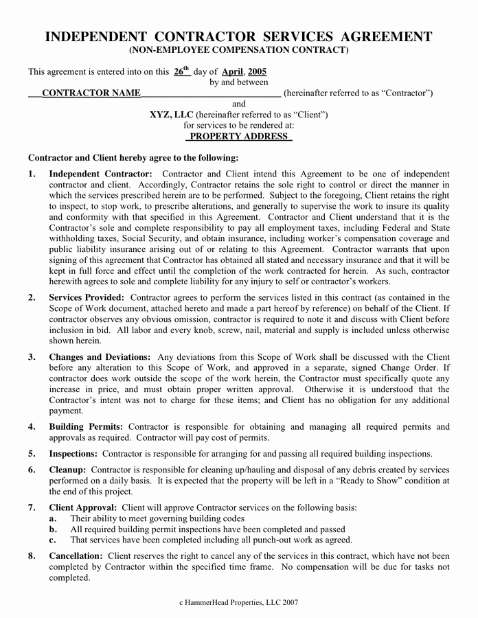 One Page Independent Contractor Agreement Beautiful Independent Contractor Services Agreement In Word and Pdf