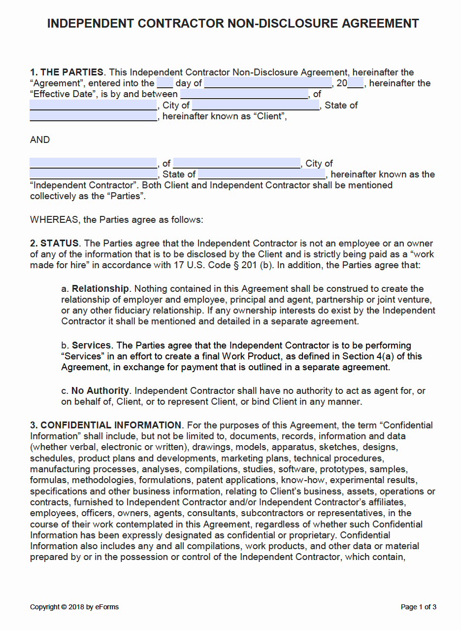 One Page Independent Contractor Agreement Best Of Free Independent Contractor Non Disclosure Agreement Nda