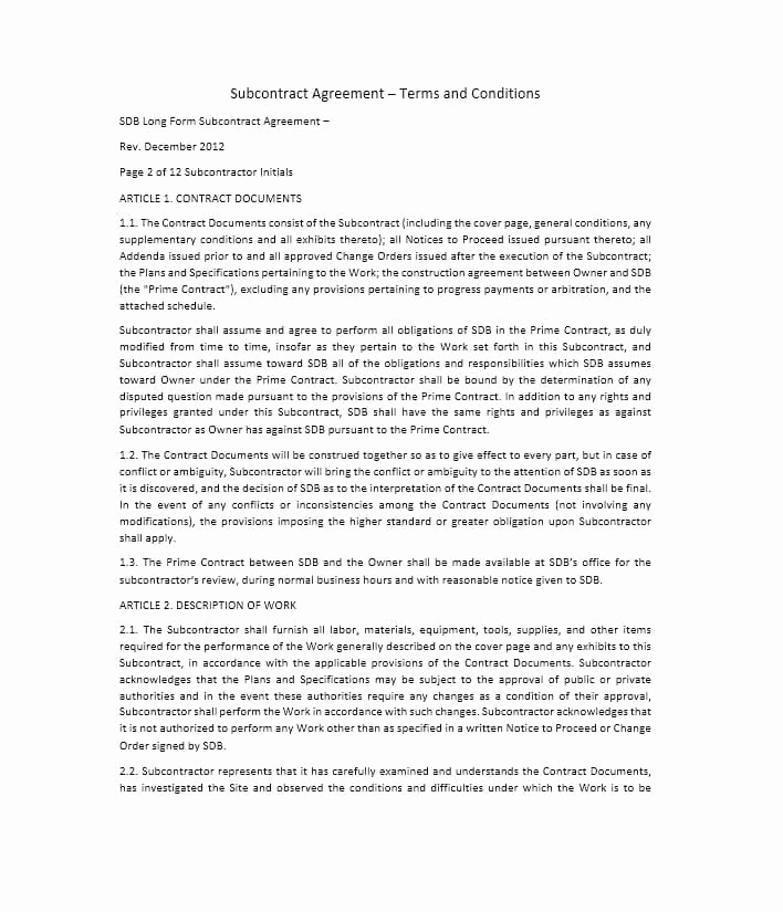 One Page Independent Contractor Agreement Elegant Need A Subcontractor Agreement 39 Free Templates Here