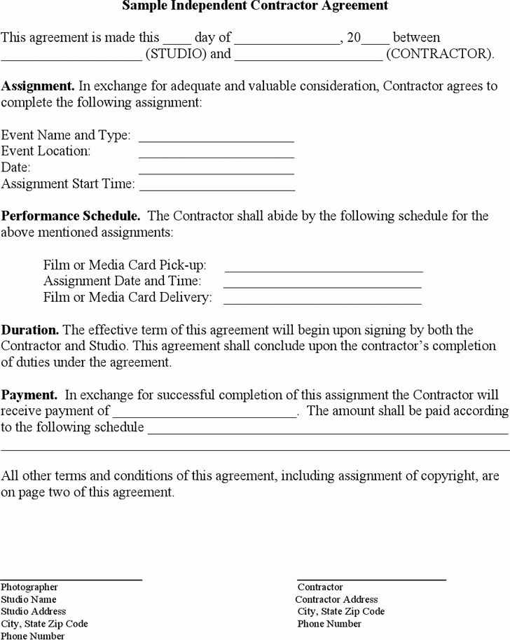 One Page Independent Contractor Agreement Inspirational Free Sample Independent Contractor Agreement Pdf