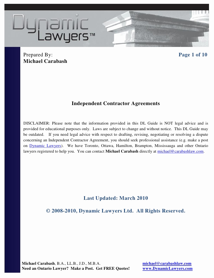 One Page Independent Contractor Agreement Lovely Independent Contractor Agreement