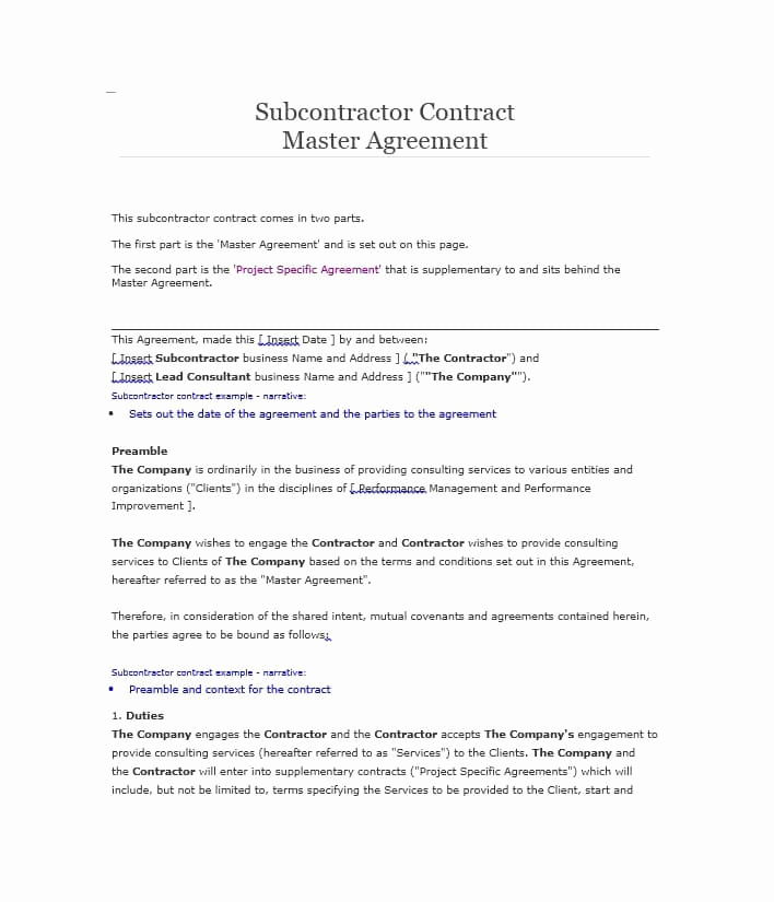 One Page Independent Contractor Agreement Lovely Need A Subcontractor Agreement 39 Free Templates Here