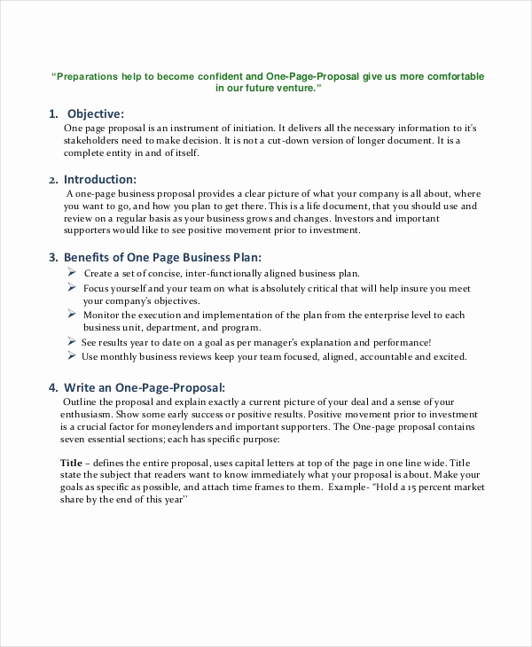 One Page Proposal Template Best Of Business Proposal Templates 31 Free Word Pdf Psd