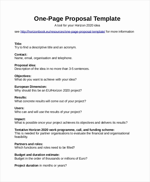 One Page Proposal Template Lovely Proposal Template 31 Free Word Pdf Indesign format