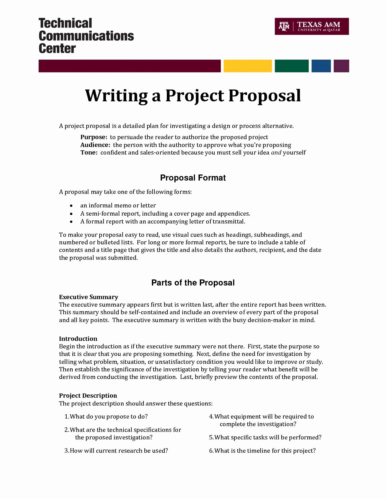 One Page Proposal Template Unique Informal Proposal Letter Example